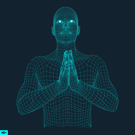 supplication: 3D Model of Man. Man who prays. Concept for Religion, Worship, Love and Spirituality. Vector Illustration. Illustration