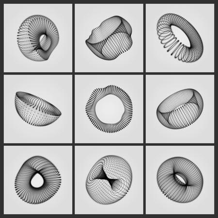 Geometric Shape for Design. The Torus Consisting of Points. The Half-sphere Consisting of Points. Molecular grid. 3D Technology Style. Vector Illustration.