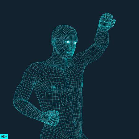 bout: Boxer. Fighting Man. 3D Model of Man. Polygonal Design. Sport Symbol. Vector Illustration.