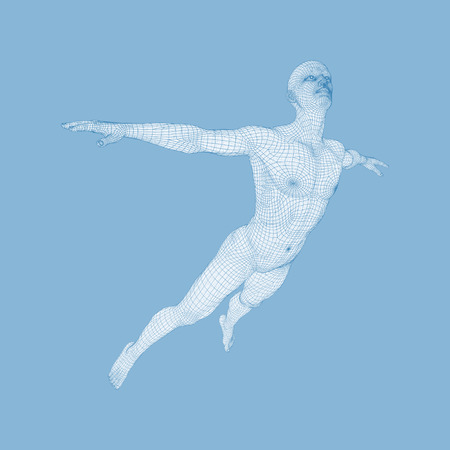 levitating: Hovering in Air. Man Floating in the Air. 3D Model of Man. Human Body. Design Element. Vector Illustration.