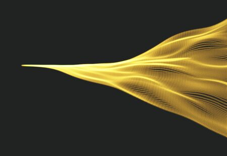 gleam: Wave Background. Abstract Vector Illustration. 3D Technology Style. Network Design with Particle.