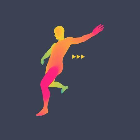 penalty: Football player. Sports concept. 3D Model of Man. Human Body. Sport Symbol. Design Element. Vector Illustration.