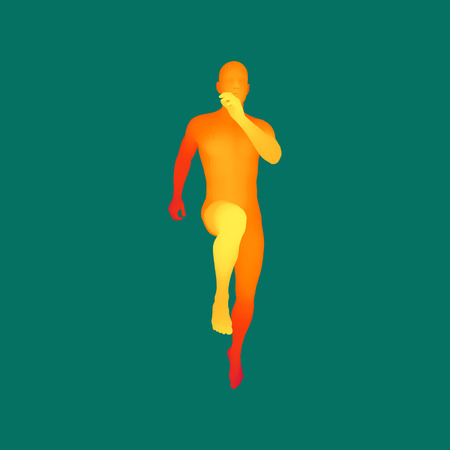 health and fitness: 3d Running Man. Design for Sport, Business, Science and Technology. Vector Illustration. Human Body. Illustration