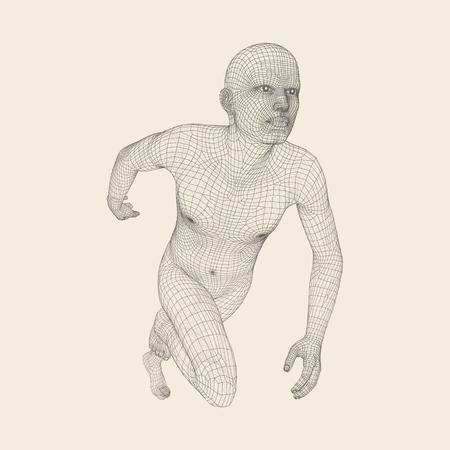 3d Running Man. Menschlicher Körper Drahtmodell. Sport Symbol. Low ...