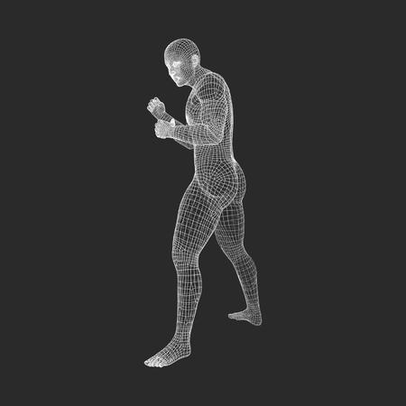 human body: Fighter. 3D Model of Man. Human Body. Sport Symbol. Design Element. Vector Illustration.