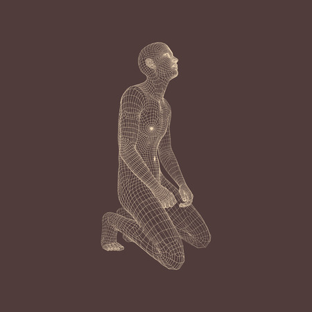 generative: Man kneeling and praying to God. 3D Human Body Model.