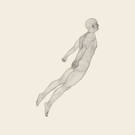 soar: Hovering in Air. Man Floating in the Air. 3D Model of Man.