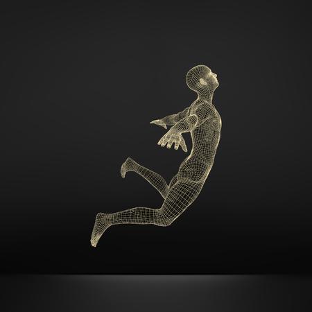 snění: Vznášející se ve vzduchu. Muž vznáší ve vzduchu. 3D Model of Man.