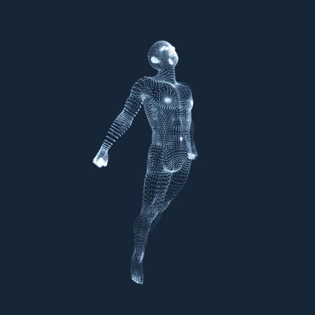 floating: 3D Model of Man. Human Body. Design Element. Vector Illustration.