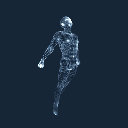 3D Model of Man. Human Body. Design Element. Vector Illustration.