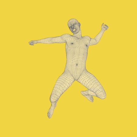 persona saltando: Comercial, la libertad o la Felicidad. Modelo 3D del Hombre. Modelo del cuerpo humano. Ilustración del vector.