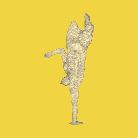 generative: Sporty man doing handstand exercise. Gymnast. 3D Model of Man. Vector Illustration. Illustration