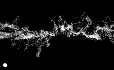 Array met Dynamic Uitgezonden Deeltjes. Water Splash Imitatie. Abstracte Achtergrond. Vector Illustratie.