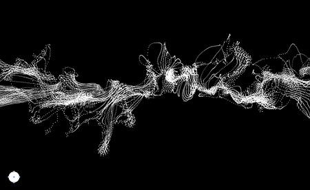 Matriz con dinámica emitida de partículas. Agua Splash imitación. Fondo abstracto. Ilustración del vector.