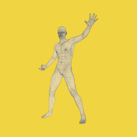 Vector man with hand up to stop. Human showing stop gesture. 3D model of man.