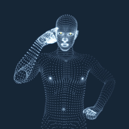 pondering: Man in a Thinker Pose. 3D Model of Man. Geometric Design. Business, Science, Psychology or Philosophy Vector Illustration. Illustration