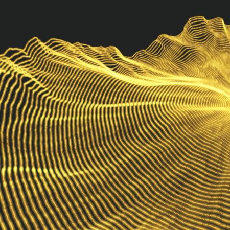 Landscape Background. Terrain. Cyberspace Grid. 3D Technology Vector Illustration. Illustration