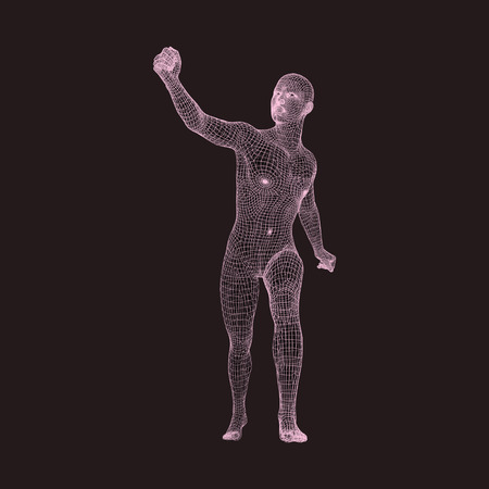 activism: Walking Man. Human with arm up. Silhouette for sport championship. The victory celebration. 3D Model of Man. Vector Illustration.