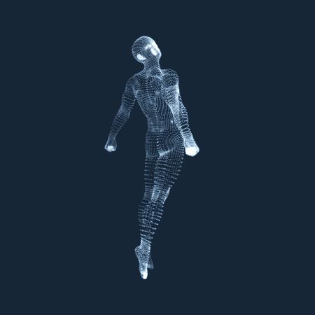 Flotando en el aire. Hombre que flota en el aire. Modelo 3D del Hombre. Cuerpo humano. Elemento de diseño. Ilustración del vector.