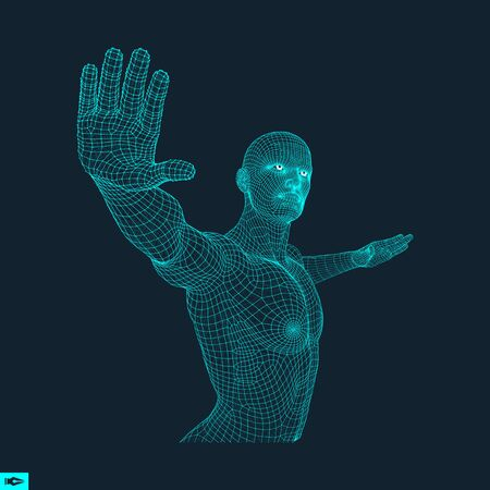 hand pointing: Vector man with hand up to stop. Human showing stop gesture. 3D model of man. 3D vector illustration.