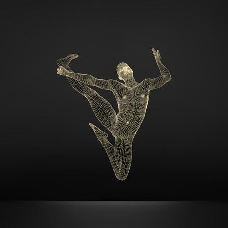 Gimnasta. Modelo 3D del Hombre. Modelo del cuerpo humano. Las actividades de gimnasia de Icon Salud y Comunidad Fitness.