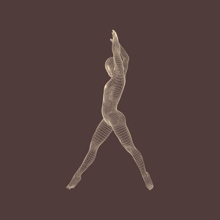 forme et sante: Gymnaste. Modèle 3D de l'homme. Modèle du corps humain. Activités de gymnastique pour Icon Health and Community Fitness. Illustration