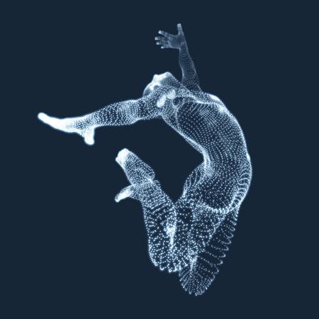 figura humana: Gimnasta. Hombre. Modelo 3D del cuerpo humano. Las actividades de gimnasia de Icon Salud y Comunidad Fitness. Los gráficos vectoriales compuesta de partículas. Vectores