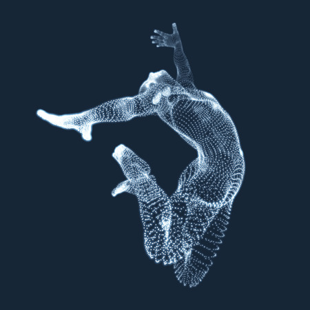 coordination: Gymnast. Man. 3D Human Body Model. Gymnastics Activities for Icon Health and Fitness Community. Vector Graphics Composed of Particles.