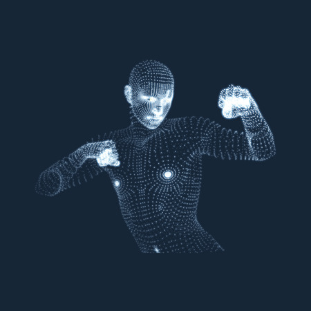 3D Human Body Model. Sport, Training and Martial Arts Concept. Design Element. Sport Symbol. Vector Graphics Composed of Particles.