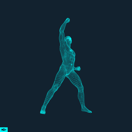 demonstrate: Standing Man. Human with arm up. Silhouette for sport championship. The victory celebration. 3D Model of Man. Vector Illustration.