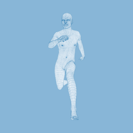 3d Running Man. Design for Sport, Business, Science and Technology. Vector Illustration. Human Body. Illustration