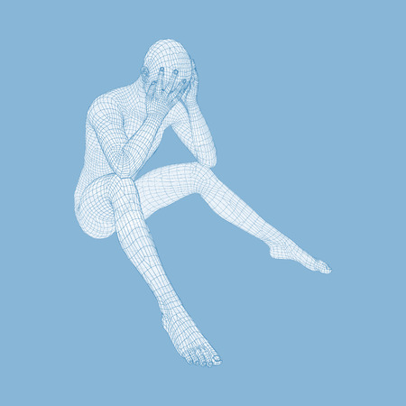 miserable: Miserable Depressed Man Sitting and Thinking. Man in a Thinker Pose. 3D Model of Man. Vector Illustration. Illustration