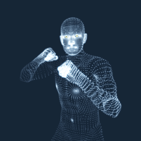 pugilism: Boxer. Fighting Man. 3D Model of Man. Human Body Model. Body Scanning. View of Human Body. Vector Graphics Composed of Particles.