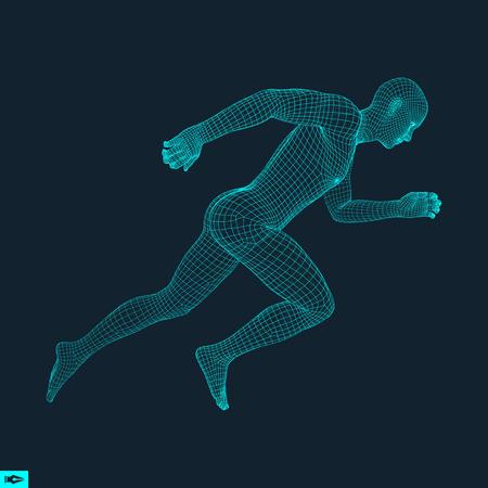 3d 남자를 실행합니다. 스포츠, 비즈니스, 과학 및 기술을위한 디자인. 벡터 일러스트 레이 션. 인간의 몸.