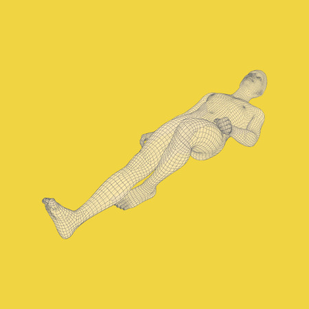Man is Lying on the Floor. Time to Relax. Man Relaxing and Dreaming. 3D Human Body Model. Vector Illustration. Illustration