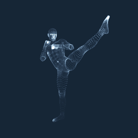 Kickbox Fighter Preparing to Execute a High Kick. Fitness, Sport, Training and Martial Arts Concept. 3D Model of Man. Human Body. Design Element. Vector Illustration. Illustration