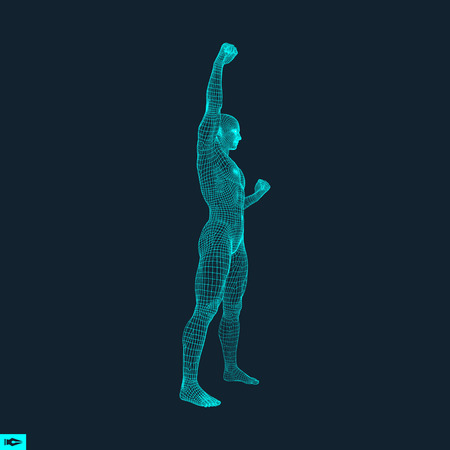 activism: Standing Man. Human with arm up. Silhouette for sport championship. The victory celebration. 3D Model of Man. Vector Illustration.