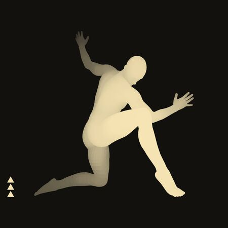 Man is Posing and Dancing. Silhouette of a Dancer. A Dancer Performs Acrobatic Elements. Sports Concept. 3D Model of Man. Human Body. Sport Symbol. Design Element. Vector Illustration.