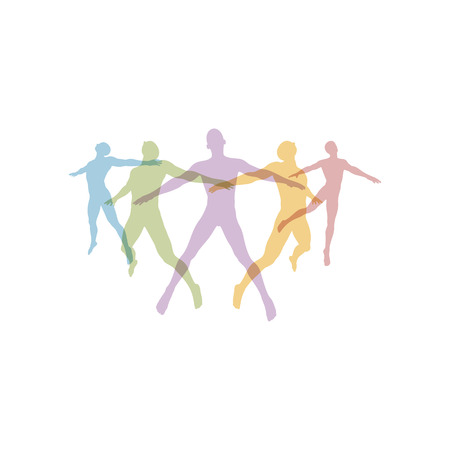 Team concept. Crowd of people icon silhouettes vector. Social icon. People Connecting. Vector illustration.