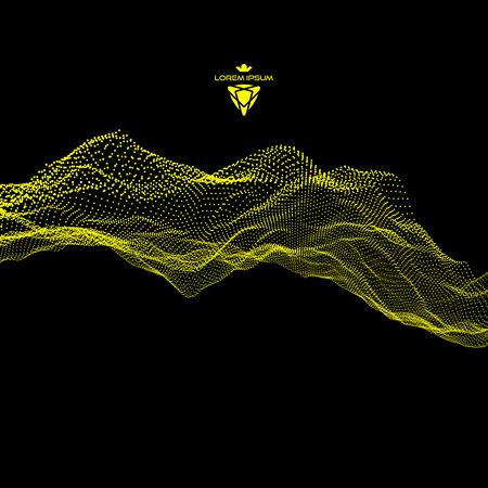 Array with Dynamic Emitted Particles. Flowing Particle Waves. Abstract Science or Technology Background. Graphic Design. Motion Vector Illustration.