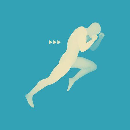 Fighter. Sports concept. 3D Model of Man. Human Body. Sport Symbol. Design Element. Vector Illustration. Illustration