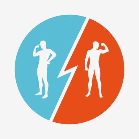 Brain vs strength. The concept of rivalry. Silhouettes of two men. Vector illustration.