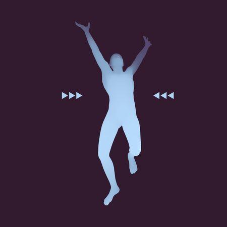 silueta humana: Hombre que corre. Humana con el brazo hacia arriba. Silueta para el campeonato deporte. La celebración de la victoria.