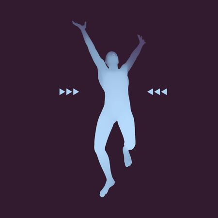 strong men: Running Man. Human with arm up. Silhouette for sport championship. The victory celebration.