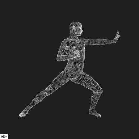 sport man: Fighter. 3D Model of Man. Sport Symbol. Vector Illustration.
