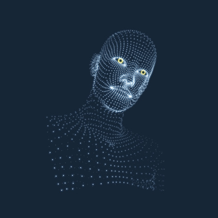 physiognomy: Head of the Person from a 3d Grid. Face Scanning. View of Human Head. 3D Geometric Face Design. Geometry Man Portrait.