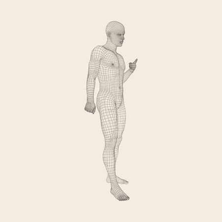 human finger: Man Pointing his Finger. Human Body Wire Model.