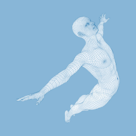 skip: Silhouette of a Jumping Man. 3D Model of Man. Geometric Design. Polygonal Covering Skin. Human Body Wire Model. Vector Illustration. Illustration
