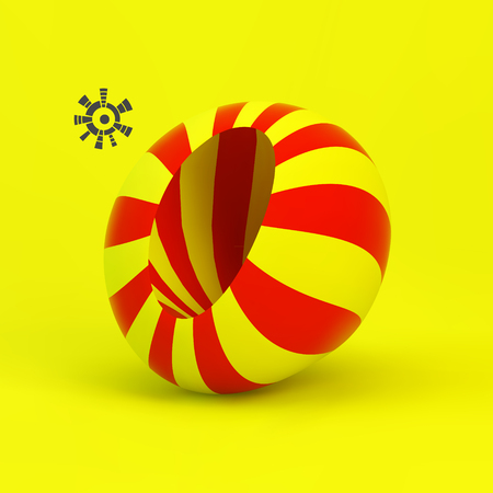 Abstract Vector 3D Illustration. Striped Object.