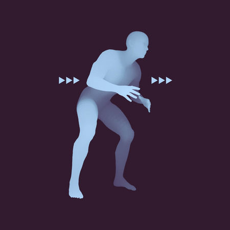 Fighter. Sports concept. 3D Model of Man. Human Body. Sport Symbol. Design Element. Vector Illustration. Иллюстрация